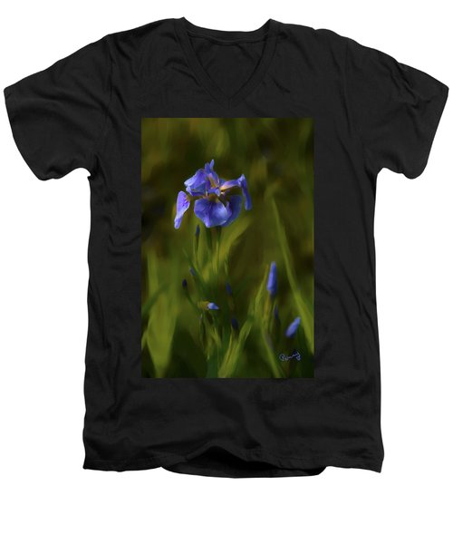 Painted Alaskan Wild Irises Men's V-Neck T-Shirt