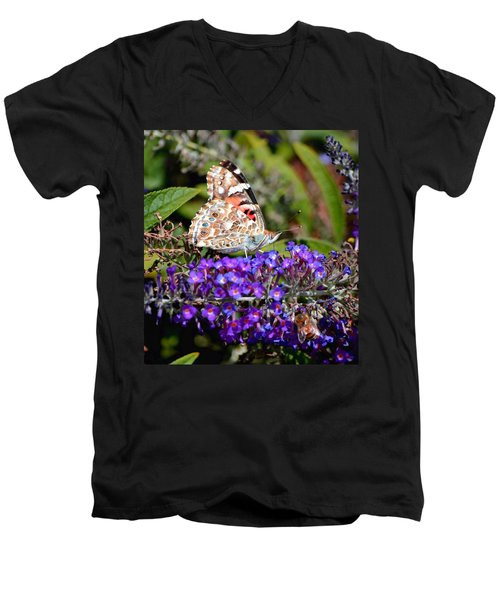 Men's V-Neck T-Shirt featuring the photograph Painted Lady by Deena Stoddard