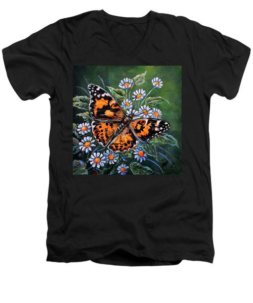 Painted Lady Men's V-Neck T-Shirt by Gail Butler