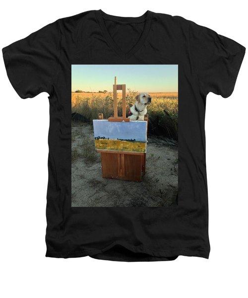 Painterly Lab Men's V-Neck T-Shirt by Mary Ward