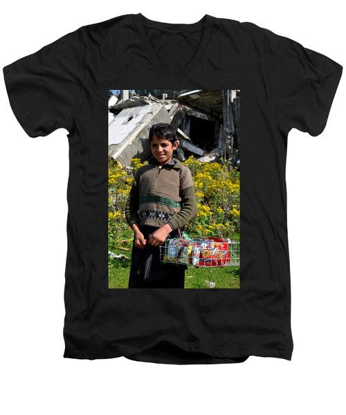 Men's V-Neck T-Shirt featuring the photograph Pakistani Boy In Front Of Hotel Ruins In Swat Valley by Imran Ahmed