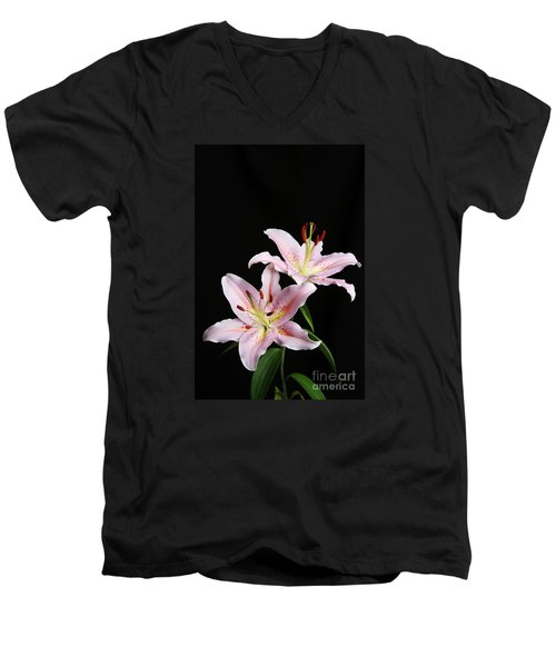 Pale Pink Asiatic Lilies Men's V-Neck T-Shirt by Judy Whitton