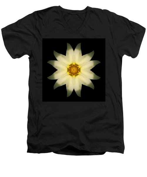 Men's V-Neck T-Shirt featuring the photograph Pale Yellow Daffodil Flower Mandala by David J Bookbinder
