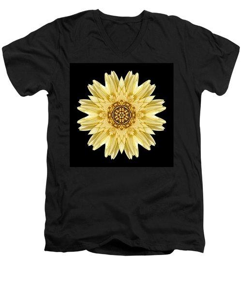 Men's V-Neck T-Shirt featuring the photograph Pale Yellow Gerbera Daisy I Flower Mandala by David J Bookbinder