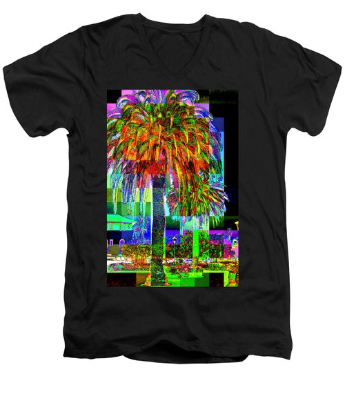 Men's V-Neck T-Shirt featuring the photograph Palm Tree by Jodie Marie Anne Richardson Traugott          aka jm-ART