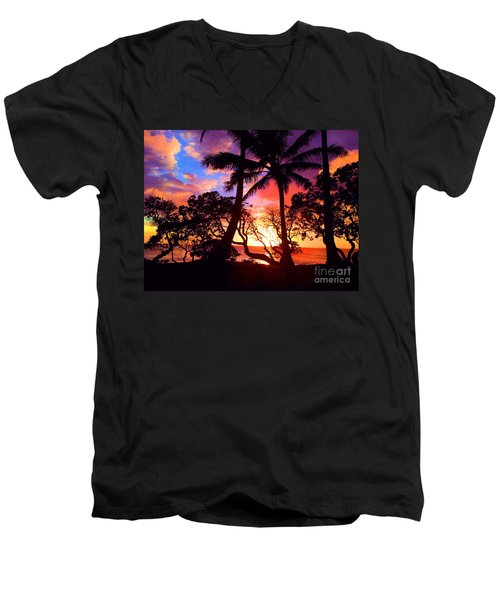 Men's V-Neck T-Shirt featuring the photograph Palm Tree Silhouette by Kristine Merc