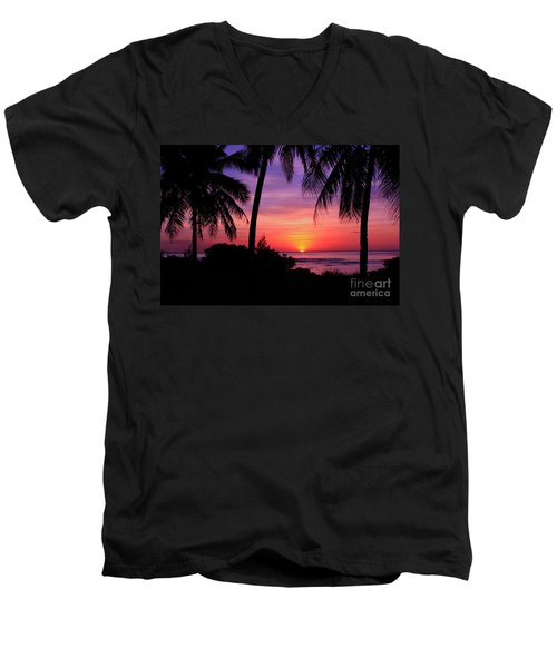 Palm Tree Sunset In Paradise Men's V-Neck T-Shirt by Scott Cameron