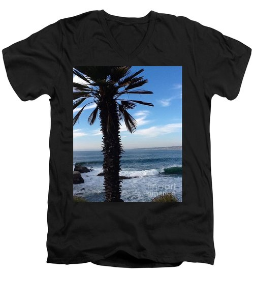 Men's V-Neck T-Shirt featuring the photograph Palm Waves by Susan Garren