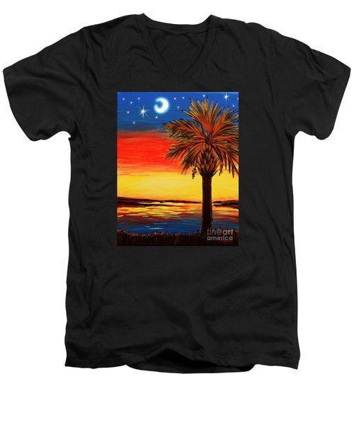 Palmetto Moon And Stars Men's V-Neck T-Shirt by Patricia L Davidson