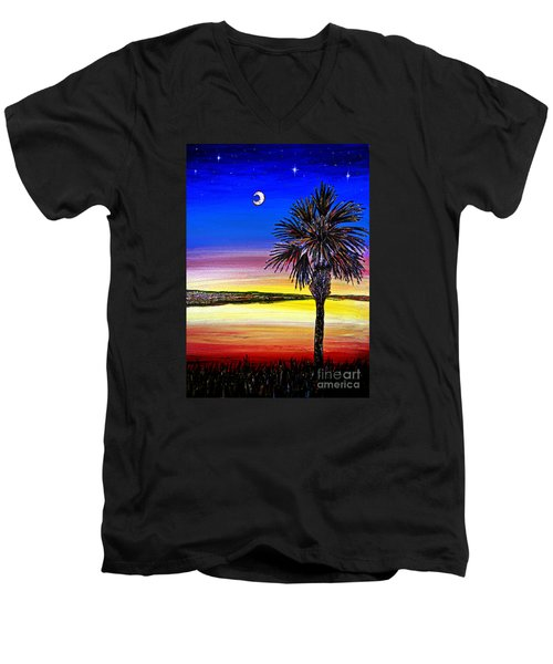 Palmetto Sunset Moon And Stars Men's V-Neck T-Shirt by Patricia L Davidson