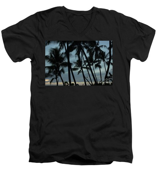 Men's V-Neck T-Shirt featuring the photograph Palms At Dusk by Suzanne Luft