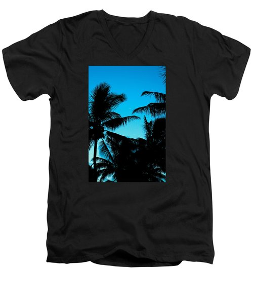 Men's V-Neck T-Shirt featuring the photograph Palms At Dusk With Sliver Of Moon by Lehua Pekelo-Stearns