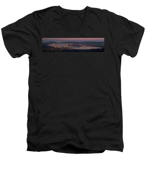 Men's V-Neck T-Shirt featuring the photograph Panorama Of Ferrol From Mount Marraxon Galicia Spain by Pablo Avanzini