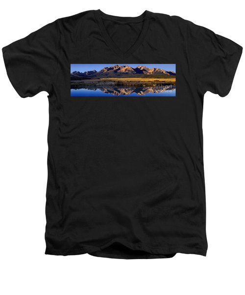 Panorama Reflections Sawtooth Mountains Nra Idaho Men's V-Neck T-Shirt by Dave Welling