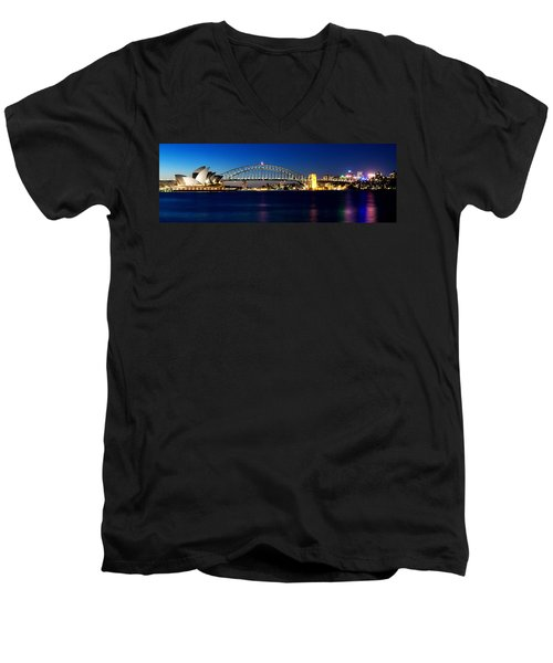 Panoramic Photo Of Sydney Night Scenery Men's V-Neck T-Shirt