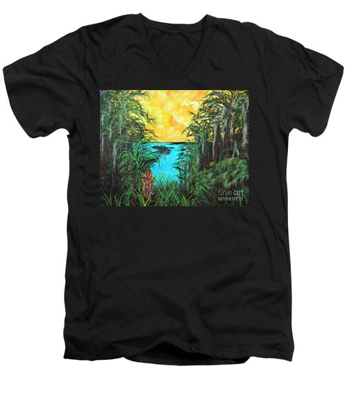 Men's V-Neck T-Shirt featuring the painting Panther Island In The Bayou by Alys Caviness-Gober