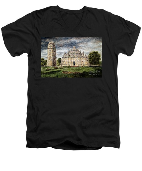 Paoay Church Men's V-Neck T-Shirt by Joey Agbayani