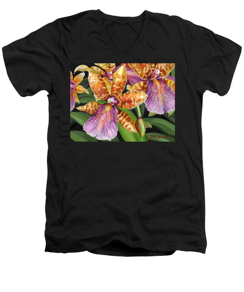 Paradise Orchid Men's V-Neck T-Shirt by Jane Girardot