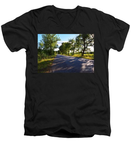 Men's V-Neck T-Shirt featuring the photograph Paradise Road by Ramona Matei