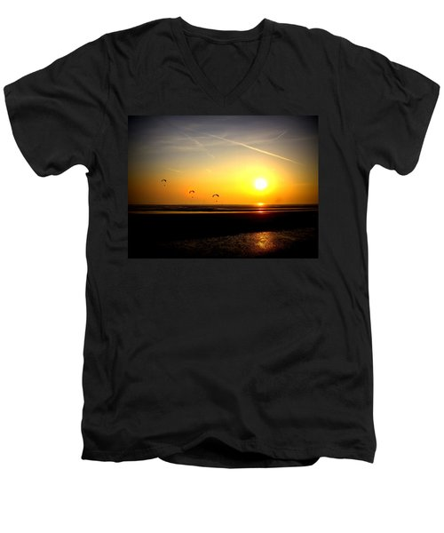 Paragliders At Sunset Men's V-Neck T-Shirt