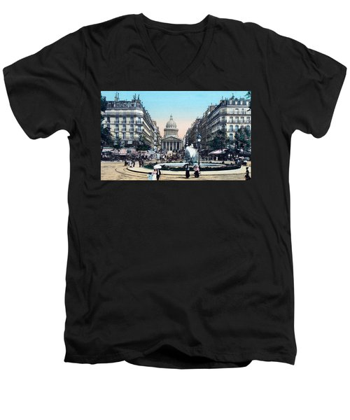 Paris 1910 Rue Soufflot And Pantheon Men's V-Neck T-Shirt