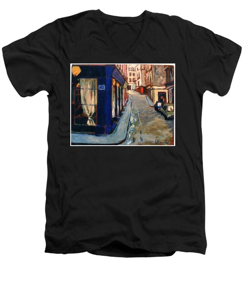 Men's V-Neck T-Shirt featuring the painting Paris Cityscape by Walter Casaravilla