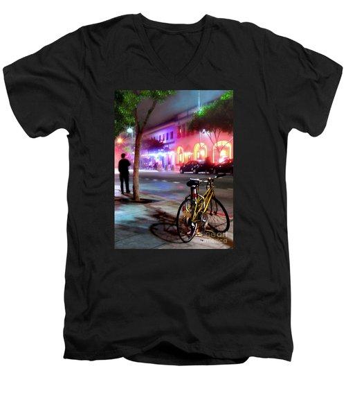 Men's V-Neck T-Shirt featuring the photograph Paris In Santa Monica by Jennie Breeze
