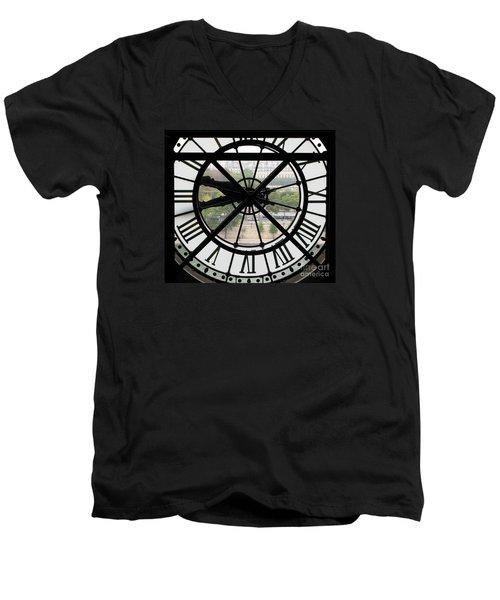 Men's V-Neck T-Shirt featuring the photograph Paris Time by Ann Horn