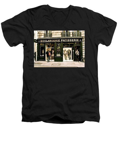 Men's V-Neck T-Shirt featuring the photograph Paris Waiting by Ira Shander