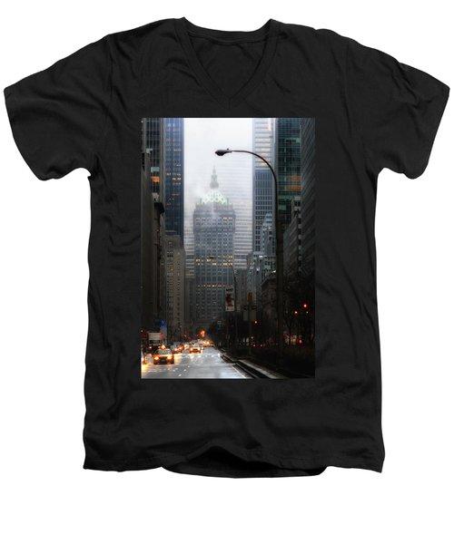 Park Avenue Dawn In Color Men's V-Neck T-Shirt