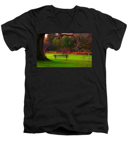 Men's V-Neck T-Shirt featuring the painting Park Bench by Bruce Nutting