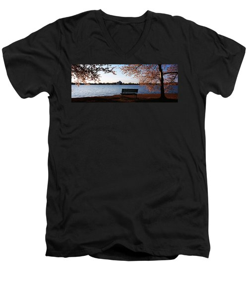 Park Bench With A Memorial Men's V-Neck T-Shirt by Panoramic Images