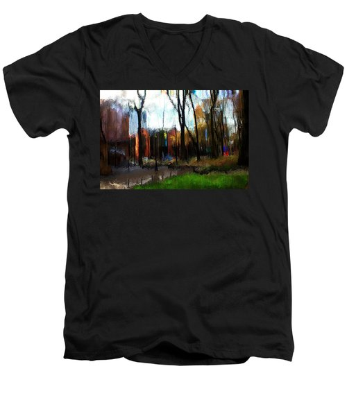 Men's V-Neck T-Shirt featuring the mixed media Park Block I by Terence Morrissey