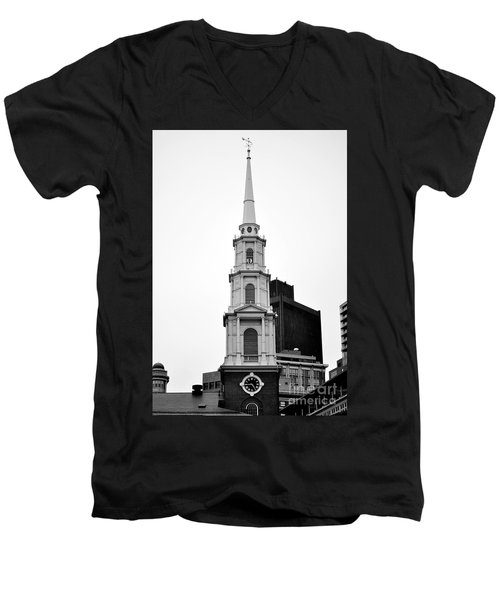 Park Street Church Boston Black And White Men's V-Neck T-Shirt