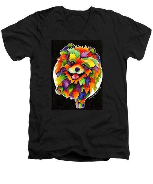 Party Pom Men's V-Neck T-Shirt by Sherry Shipley