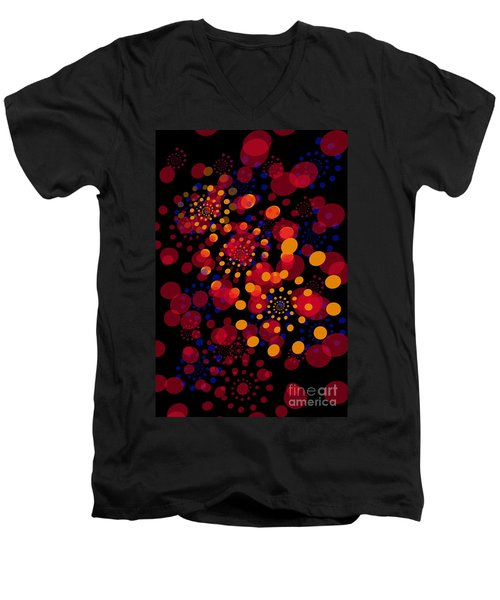 Party Time Abstract Painting Men's V-Neck T-Shirt by Claudia Ellis