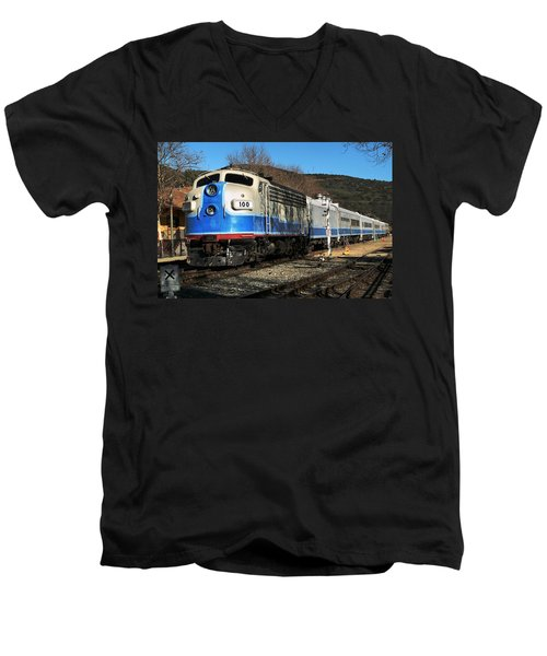 Men's V-Neck T-Shirt featuring the photograph Passenger Train by Michael Gordon