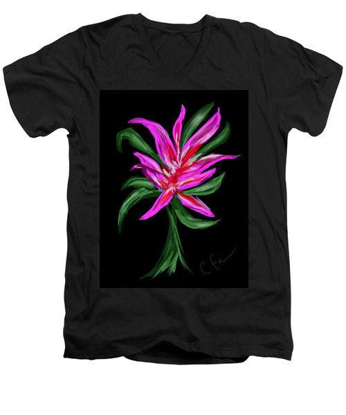 Men's V-Neck T-Shirt featuring the digital art Passion Flower by Christine Fournier