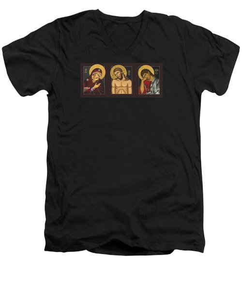 Men's V-Neck T-Shirt featuring the painting Passion Triptych by William Hart McNichols