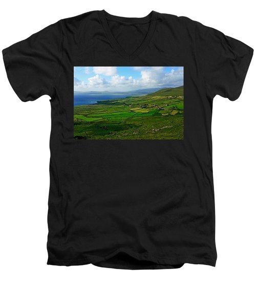 Patchwork Landscape Men's V-Neck T-Shirt by Aidan Moran