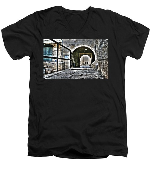 Men's V-Neck T-Shirt featuring the photograph Pathway Through Old Jerusalem by Doc Braham