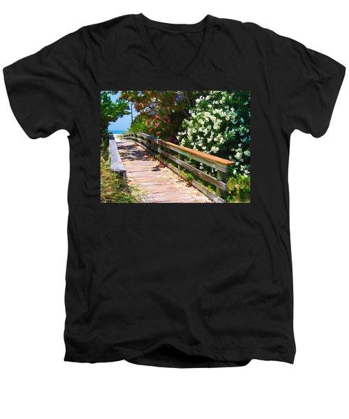 Pathway To Beach Men's V-Neck T-Shirt