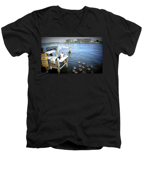 Men's V-Neck T-Shirt featuring the photograph Patiently Waiting by Laurie Perry