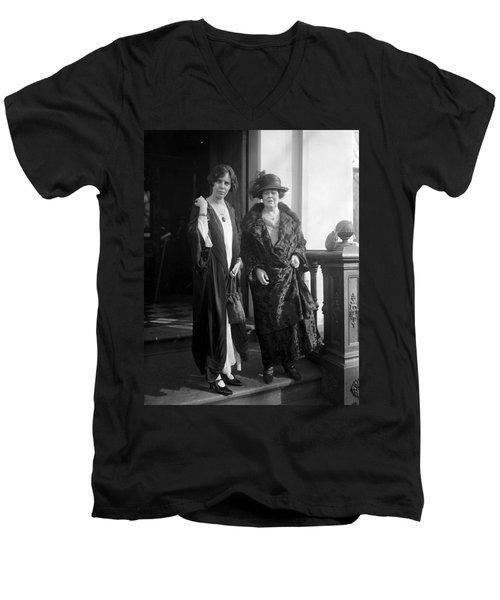 Men's V-Neck T-Shirt featuring the photograph Paul & Belmont, 1923 by Granger
