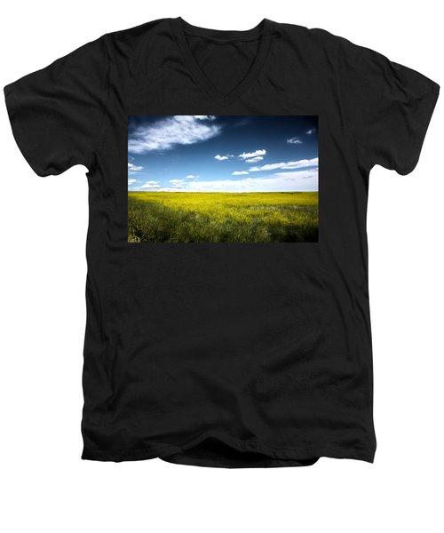 Men's V-Neck T-Shirt featuring the photograph Pawnee Grasslands by Shane Bechler