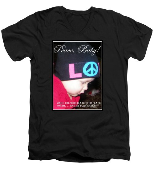 Men's V-Neck T-Shirt featuring the photograph Peace Baby by Bobbee Rickard