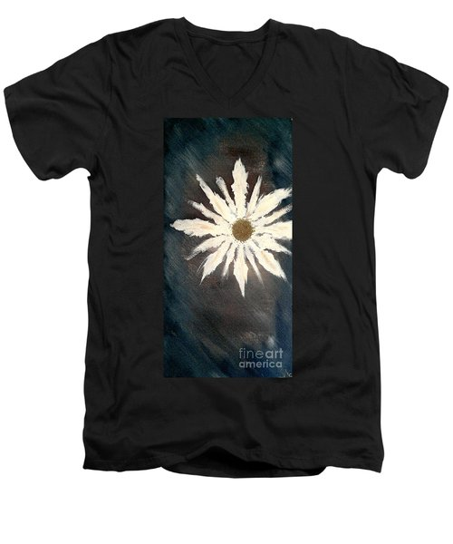 Men's V-Neck T-Shirt featuring the painting Peace Flower by Jacqueline McReynolds