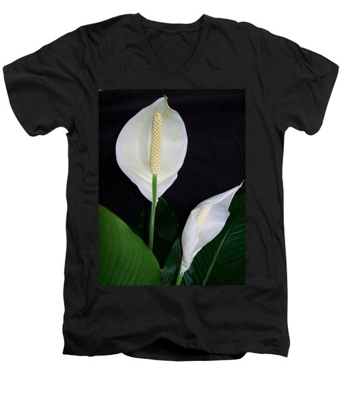 Peace Lilies Men's V-Neck T-Shirt by Sharon Duguay