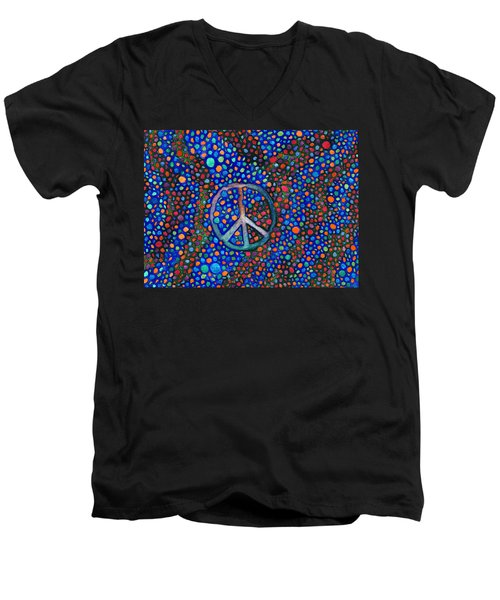 Men's V-Neck T-Shirt featuring the painting Peace Sign by Janice Dunbar