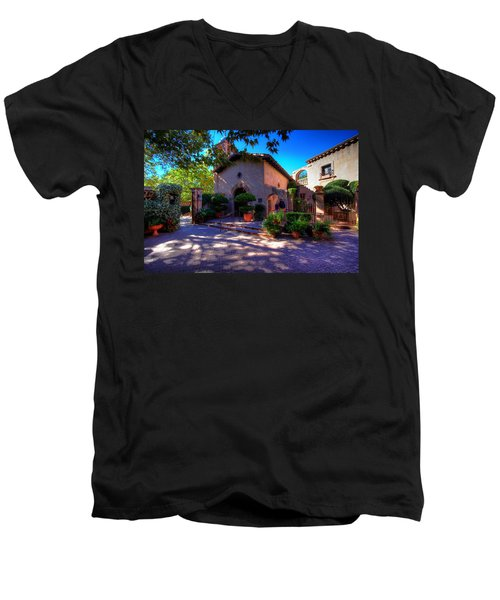 Peaceful Plaza Men's V-Neck T-Shirt by Dave Files